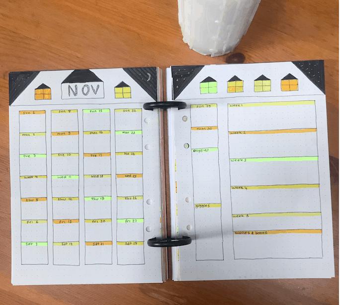 November bullet journal calendar monthly bujo spread planner