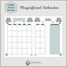 Undated calendar with notes section and cube pattern decoration