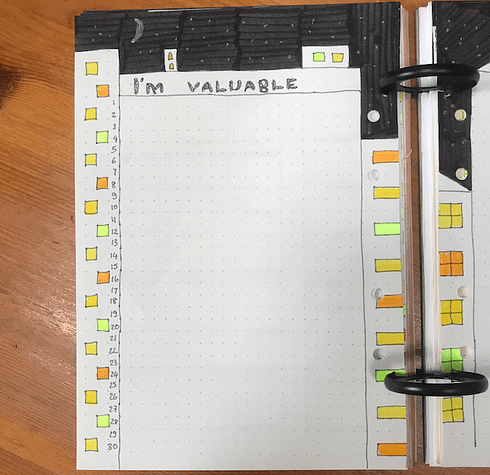 Bullet journal self care valuable monthly spread