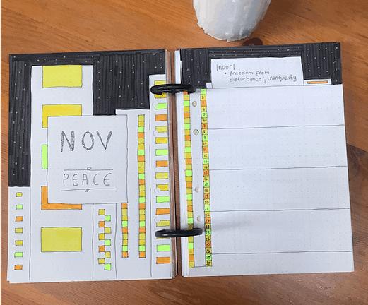 November cover bullet journal setup monthly spread