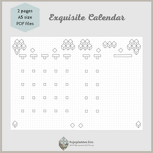 Exquisite calendar [open style, cube art] two pages A5 size PDF files printable bullet journal pages