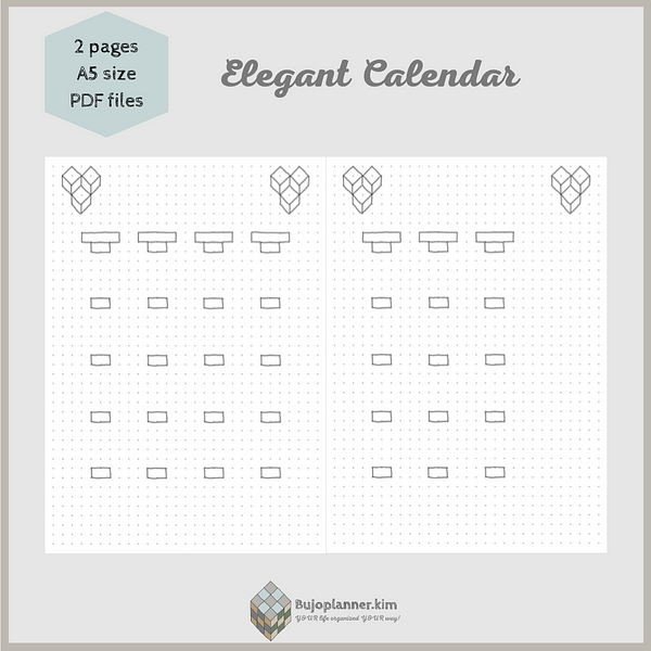 Elegant calendar [open style, cube art] two pages A5 size PDF files
