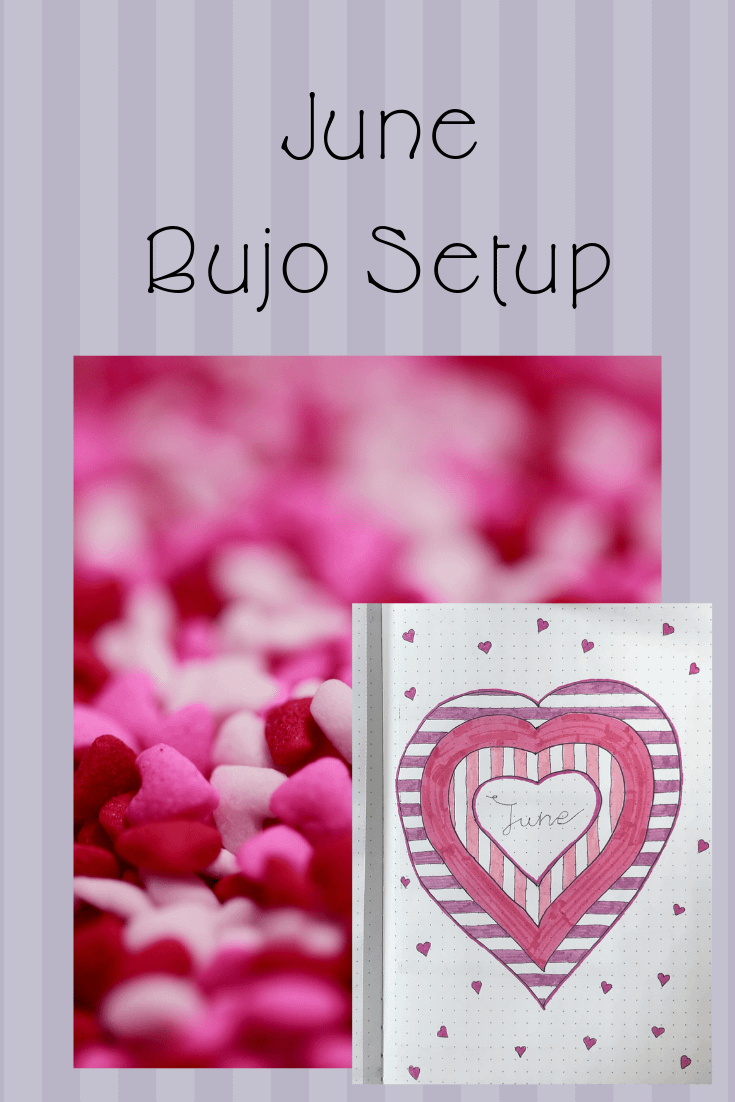 Striped background with a picture of pick hearts. Then inset is a picture of the front cover of the bullet journal monthly setup.